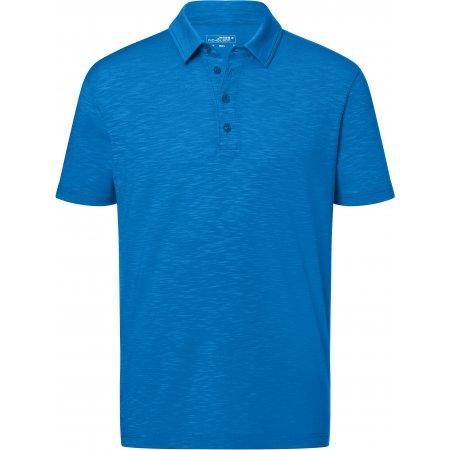 Pánské triko s límečkem žíhané JAMES NICHOLSON JN752 BRIGHT BLUE