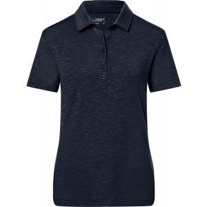 Dámské triko s límečkem žíhané JAMES NICHOLSON JN751 NAVY