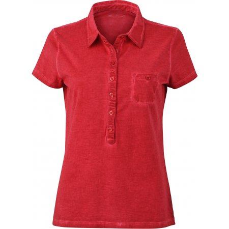 Dámské triko s límečkem fashion JAMES NICHOLSON JN987 CHILI