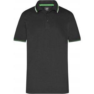 Pánské triko s límečkem fashion JAMES NICHOLSON JN966 BLACK/WHITE/LIME GREEN