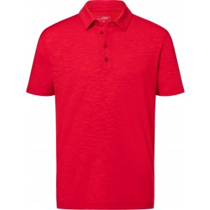 Pánské triko s límečkem žíhané JAMES NICHOLSON JN752 RED