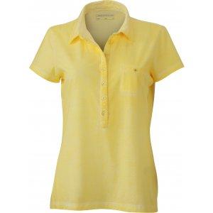 Dámské triko s límečkem fashion JAMES NICHOLSON JN987 LIGHT YELLOW