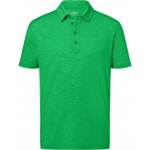 Pánské triko s límečkem žíhané JAMES NICHOLSON JN752 FERN GREEN