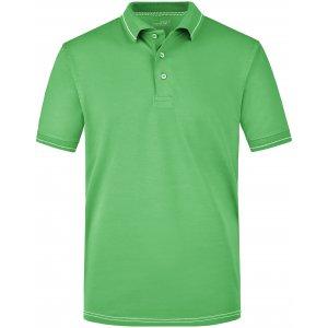 Pánské triko s límečkem premium JAMES NICHOLSON JN569 LIME GREEN/WHITE