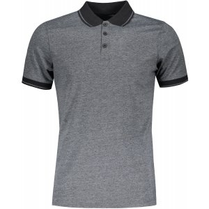 Pánské triko s límečkem melange JAMES NICHOLSON JN706 BLACK MELANGE/BLACK