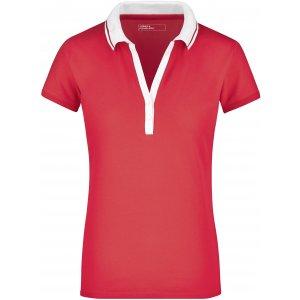 Dámské triko s límečkem JAMES NICHOLSON JN158 PINK/WHITE
