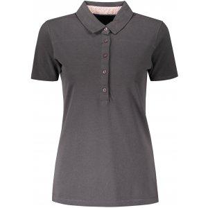 Dámské triko s límečkem fashion JAMES NICHOLSON JN711 GRAPHITE/WHITE RED