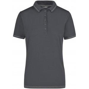 Dámské triko s límečkem premium JAMES NICHOLSON JN568 GRAPHITE/WHITE