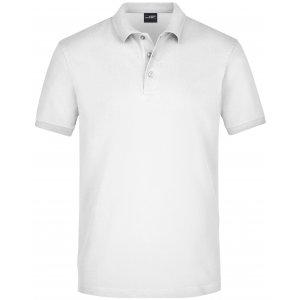 Pánské triko s límečkem elastic JAMES NICHOLSON JN710 WHITE