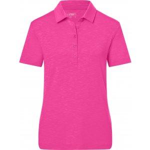 Dámské triko s límečkem žíhané JAMES NICHOLSON JN751 PINK