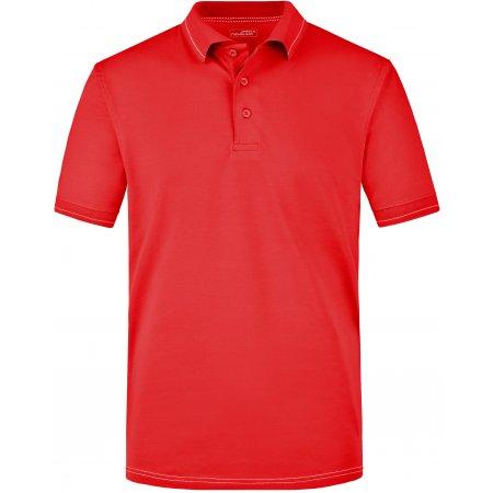Pánské triko s límečkem premium JAMES NICHOLSON JN569 RED/WHITE