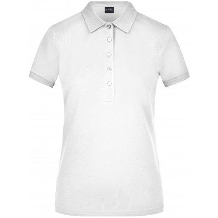 Dámské triko s límečkem elastic JAMES NICHOLSON JN709 WHITE