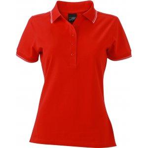 Dámské triko s límečkem JAMES NICHOLSON JN985 TOMATO/WHITE