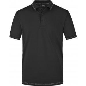 Pánské triko s límečkem premium JAMES NICHOLSON JN569 BLACK/WHITE
