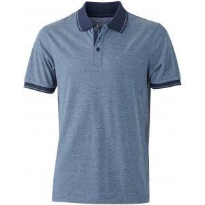 Pánské triko s límečkem melange JAMES NICHOLSON JN706 BLUE MELANGE/NAVY