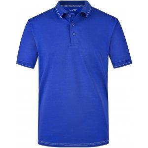 Pánské triko s límečkem premium JAMES NICHOLSON JN569 ROYAL/WHITE