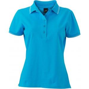 Dámské triko s límečkem JAMES NICHOLSON JN985 TURQUOISE/WHITE
