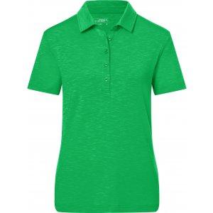 Dámské triko s límečkem žíhané JAMES NICHOLSON JN751 FERN GREEN