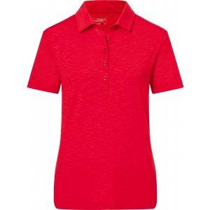 Dámské triko s límečkem žíhané JAMES NICHOLSON JN751 RED