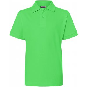 Dětské triko s límečkem premium JAMES NICHOLSON JN070K LIME GREEN