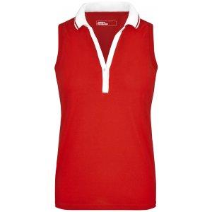 Dámské triko s límečkem bez rukávů JAMES NICHOLSON JN159 TOMATO/WHITE