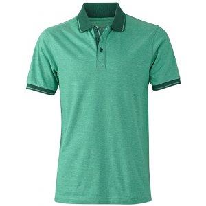 Pánské triko s límečkem melange JAMES NICHOLSON JN706 GREEN MELANGE/DARK GREEN
