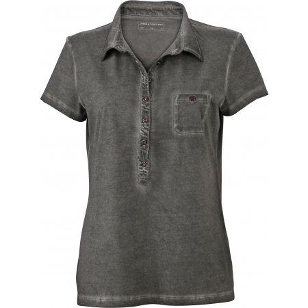 Dámské triko s límečkem fashion JAMES NICHOLSON JN987 DUSTY OLIVE
