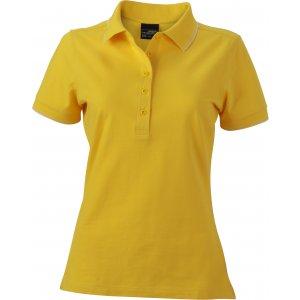 Dámské triko s límečkem JAMES NICHOLSON JN985 SUN YELLOW/WHITE