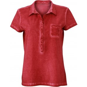 Dámské triko s límečkem fashion JAMES NICHOLSON JN987 RED