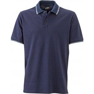 Pánské triko s límečkem JAMES NICHOLSON JN986 NAVY/WHITE